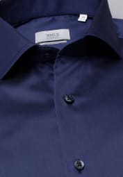 ETERNA LANGARM HEMD MODERN FIT GENTLE SHIRT TWILL MARINE UNIFARBEN
