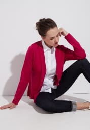 ETERNA STRICK CARDIGAN ROT UNIFARBEN