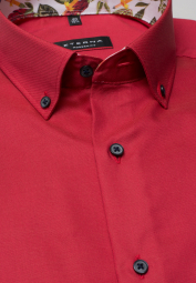 ETERNA KURZARM HEMD MODERN FIT OXFORD ROT UNIFARBEN