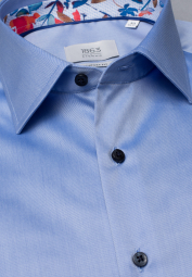 ETERNA LANGARM HEMD COMFORT FIT GENTLE SHIRT TWILL BLAU UNIFARBEN