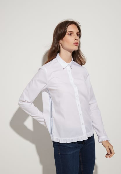 ETERNA LANGARM BLUSE MODERN CLASSIC CHAMBRAY WEISS UNIFARBEN