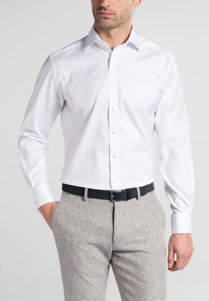 ETERNA LANGARM HEMD MODERN FIT COVER SHIRT TWILL WEISS UNIFARBEN