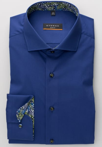 ETERNA LANGARM HEMD SLIM FIT STRETCH MARINEBLAU UNIFARBEN