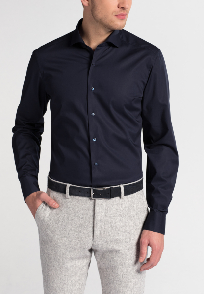 ETERNA LANGARM HEMD SLIM FIT STRETCH MARINE STRUKTURIERT