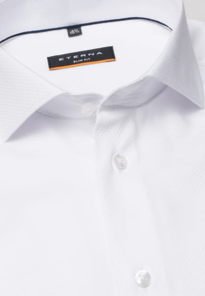 ETERNA LANGARM HEMD SLIM FIT STRETCH WEISS STRUKTURIERT