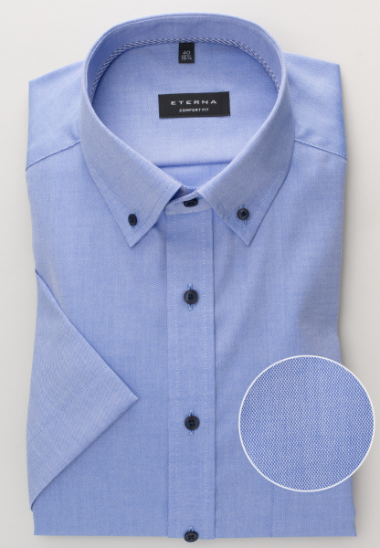 ETERNA KURZARM HEMD COMFORT FIT OXFORD BLAU UNIFARBEN