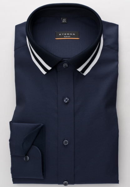 ETERNA LANGARM HEMD SLIM FIT OXFORD MARINEBLAU UNIFARBEN